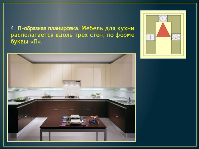 4. П-образная планировка. Мебель для кухни располагается вдоль трех стен, по...