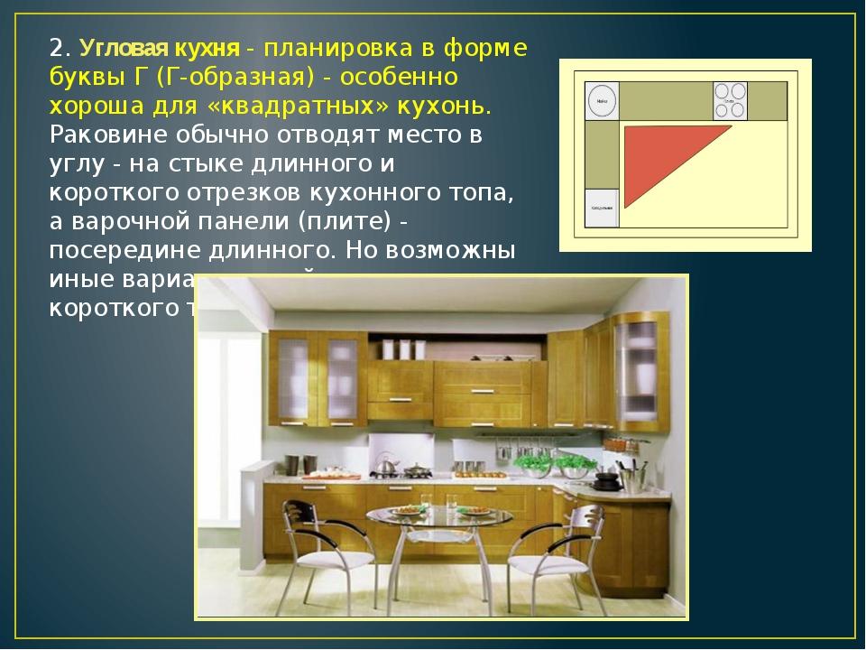 2. Угловая кухня - планировка в форме буквы Г (Г-образная) - особенно хороша...