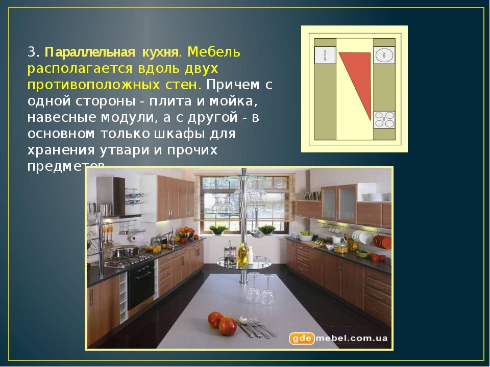 3. Параллельная кухня. Мебель располагается вдоль двух противоположных стен....