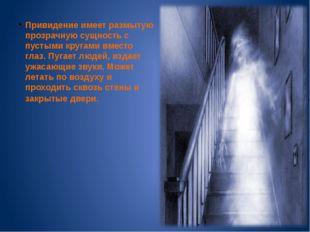 Привидение имеет размытую прозрачную сущность с пустыми кругами вместо глаз.
