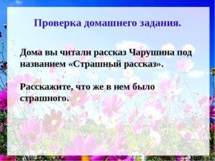 Проверка домашнего задания. Дома вы читали рассказ Чарушина под названием «Ст