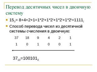 Перевод десятичных чисел в двоичную систему 1510= 8+4+2+1=1*23+1*22+1*21+1*20
