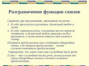 Разграничение функции союзов Сравните два предложения, записанные на доске: 1