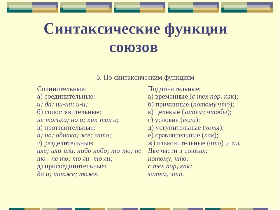 Синтаксические функции союзов 3. По синтаксическим функциям Сочинительные: а...