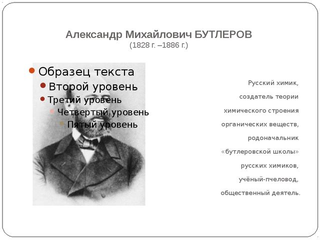 Александр Михайлович БУТЛЕРОВ (1828 г. –1886 г.) Русский химик, создатель те...