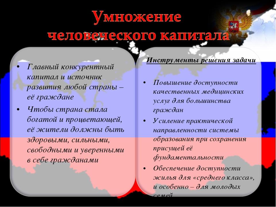 Главный конкурентный капитал и источник развития любой страны – её граждане Ч...