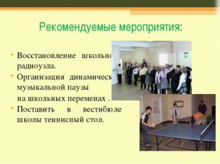 Рекомендуемые мероприятия: Восстановление школьного радиоузла. Организация ди