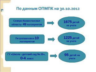 По данным ОПМПК на 30.10.2012 Северо-Казахстанская область- 49 логопунктов 1