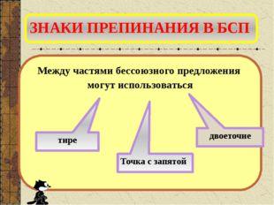 ЗНАКИ ПРЕПИНАНИЯ В БСП Между частями бессоюзного предложения могут использова