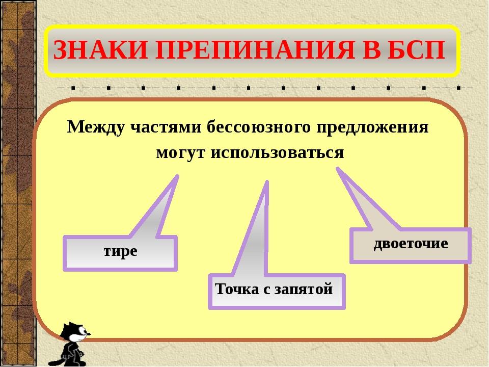 ЗНАКИ ПРЕПИНАНИЯ В БСП Между частями бессоюзного предложения могут использова...