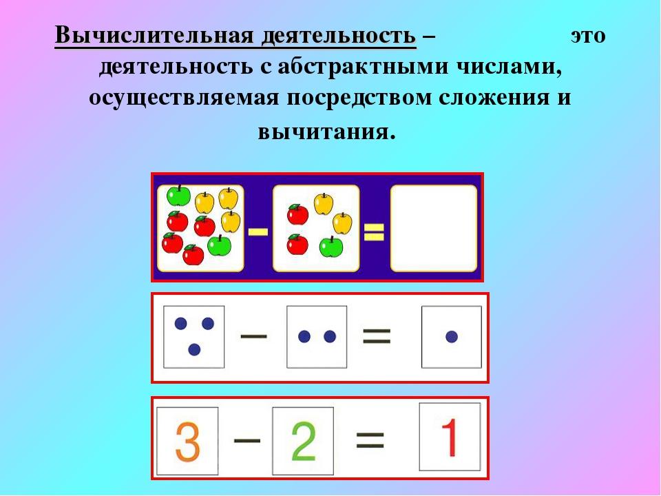 Вычислительная деятельность – это деятельность с абстрактными числами, осущес...
