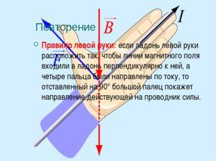 Повторение Правило левой руки: если ладонь левой руки расположить так, чтобы