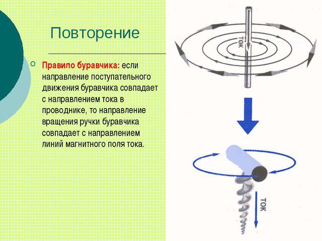 Повторение Правило буравчика: если направление поступательного движения бурав...