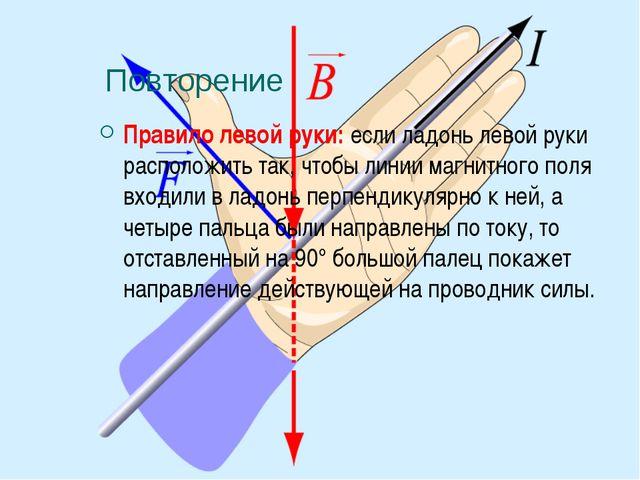 Повторение Правило левой руки: если ладонь левой руки расположить так, чтобы...