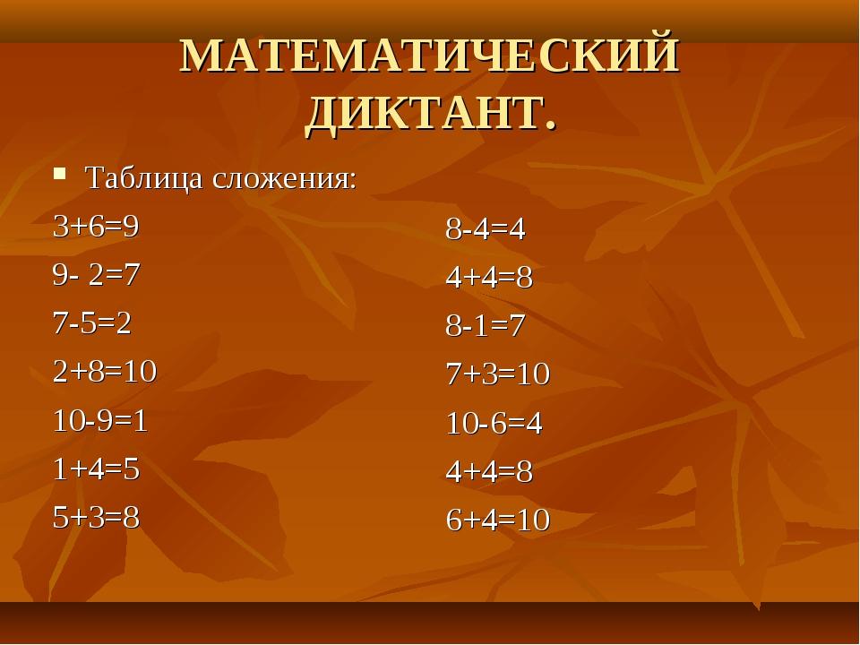 МАТЕМАТИЧЕСКИЙ ДИКТАНТ. Таблица сложения: 3+6=9 9- 2=7 7-5=2 2+8=10 10-9=1 1+...