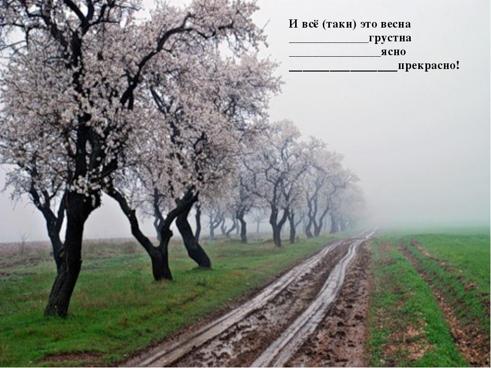 И всё (таки) это весна _____________грустна _______________ясно _____________...