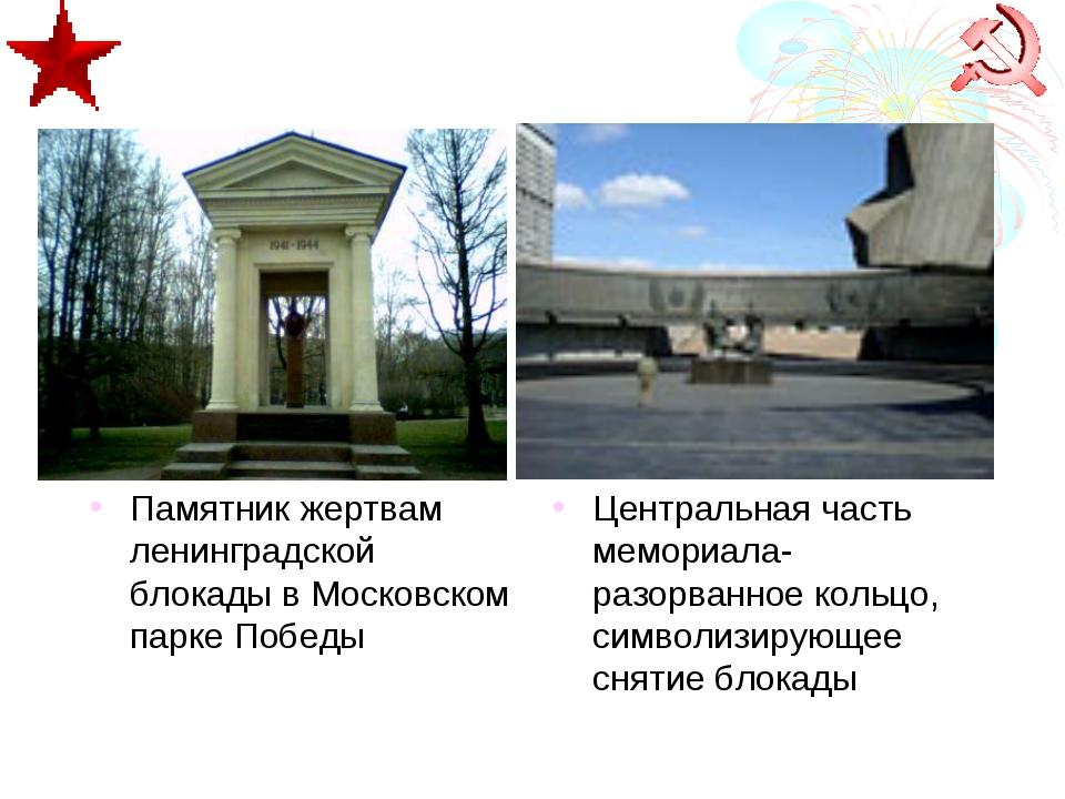 Памятник жертвам ленинградской блокады в Московском парке Победы Центральная...