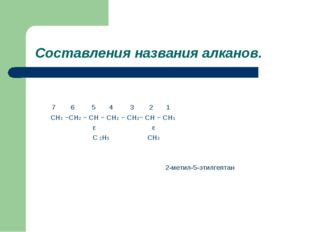 Составления названия алканов. 7 6 5 4 3 2 1 CH3 −CH2 − CH − CH2 − CH2− CH −