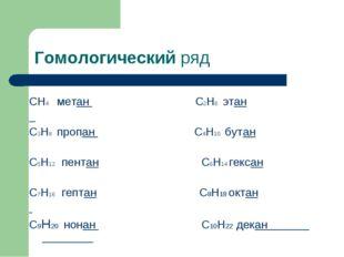 Гомологический ряд СН4 метан С2Н6 этан С3Н8 пропан С4Н10 бутан С5Н12 пентан С