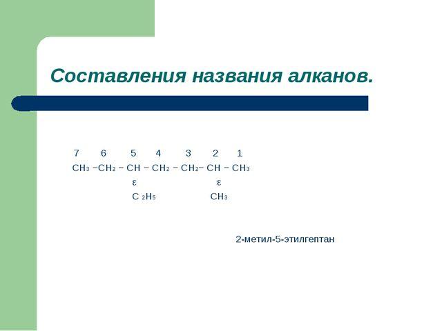 Составления названия алканов. 7 6 5 4 3 2 1 CH3 −CH2 − CH − CH2 − CH2− CH −...