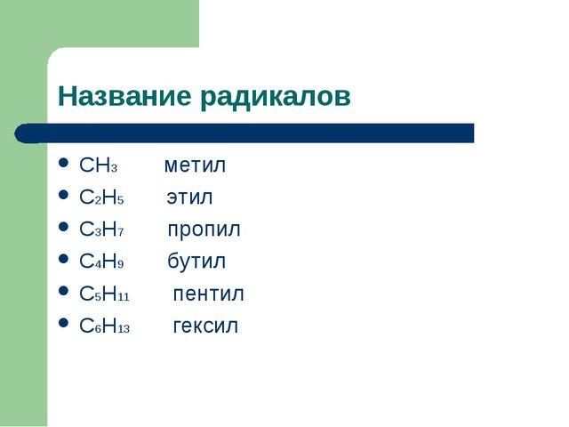 Название радикалов CH3 метил C2H5 этил C3H7 пропил C4H9 бутил C5H11 пентил C6...