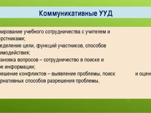 Коммуникативные УУД - планирование учебного сотрудничества с учителем и сверс
