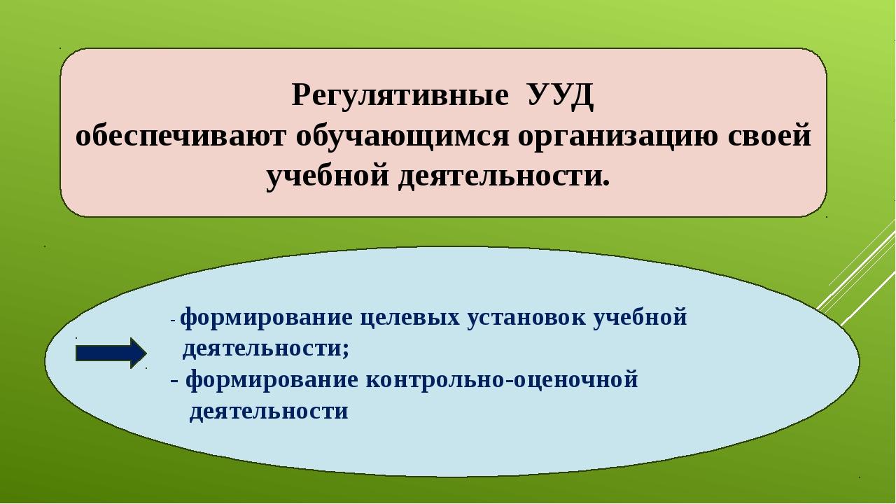 - формирование целевых установок учебной деятельности; - формирование контрол...