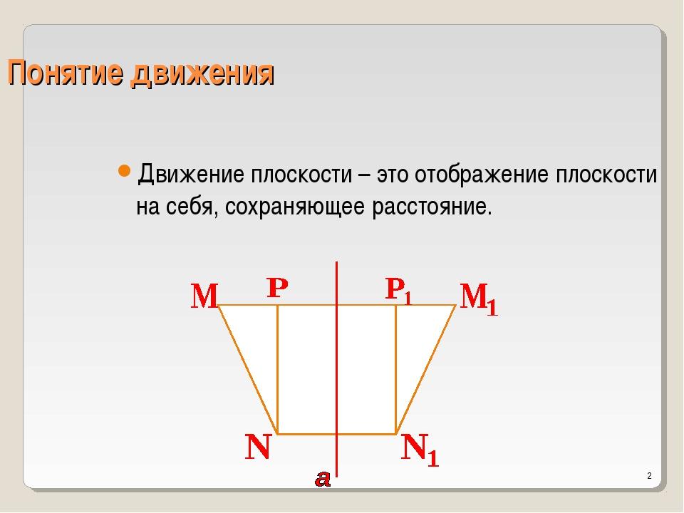 * Понятие движения Движение плоскости – это отображение плоскости на себя, со...