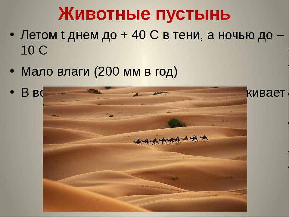 Животные пустынь Летом t днем до + 40 С в тени, а ночью до – 10 С Мало влаги...