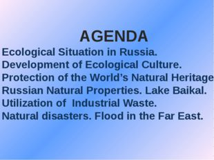 AGENDA 1. Ecological Situation in Russia. 2. Development of Ecological Cultur