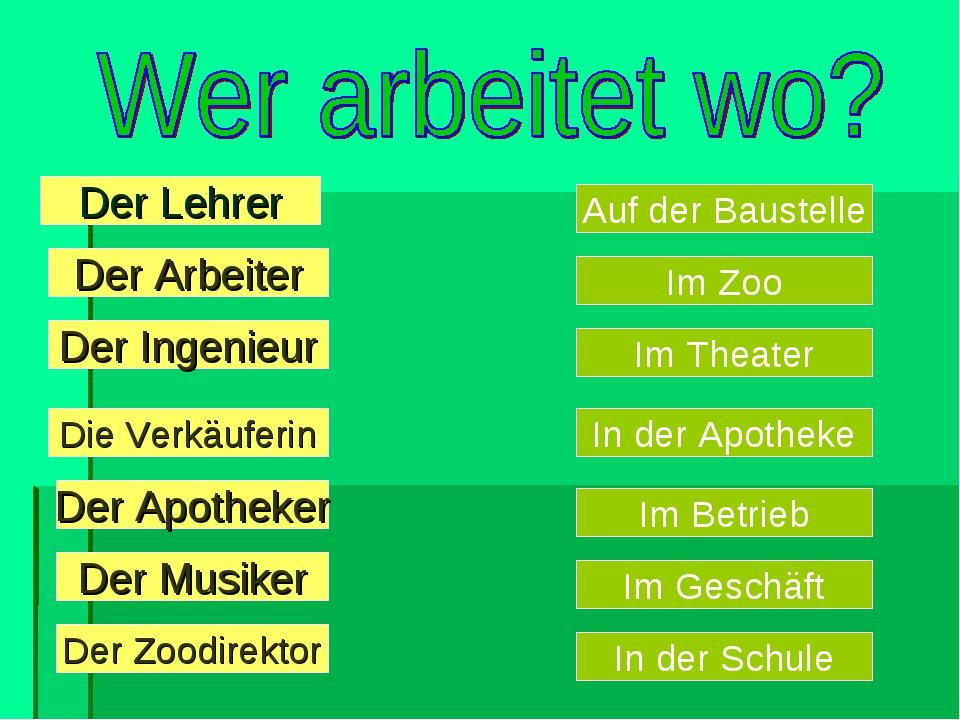 Der Arbeiter Der Ingenieur Die Verkäuferin Der Apotheker Der Lehrer Der M...