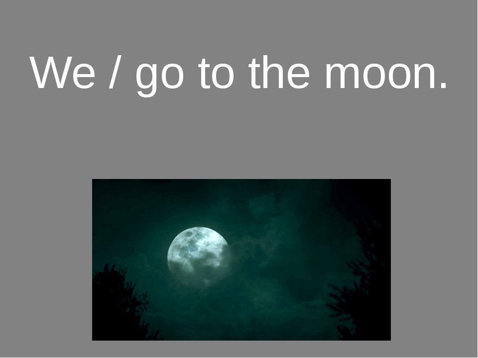 We / go to the moon.