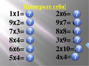 Проверьте себя! 1х1= 1 9х2= 18 7х3= 21 8х4= 32 6х6= 36 5х4= 20 2х6= 12 9х7= 6