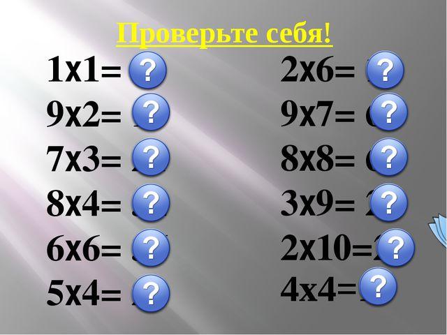 Проверьте себя! 1х1= 1 9х2= 18 7х3= 21 8х4= 32 6х6= 36 5х4= 20 2х6= 12 9х7= 6...