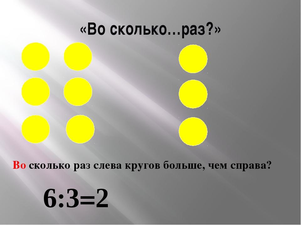 «Во сколько…раз?» Во сколько раз слева кругов больше, чем справа? 6:3=2
