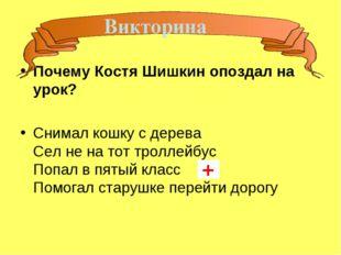Почему Костя Шишкин опоздал на урок? Снимал кошку с дерева Сел не на тот трол