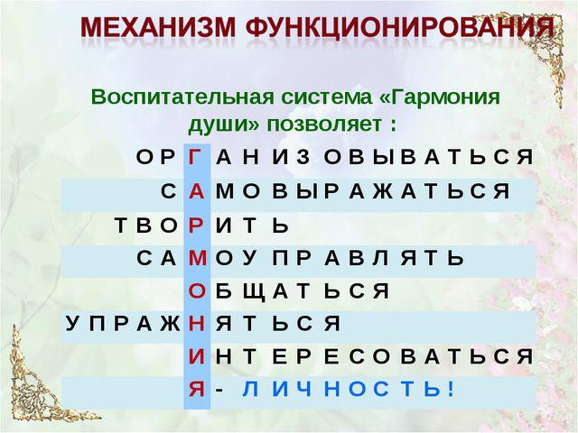 Воспитательная система «Гармония души» позволяет : ОРГАНИЗОВЫ...