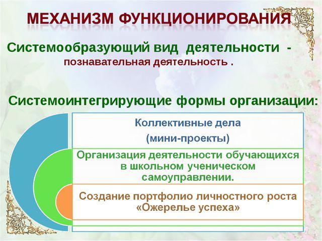 Системообразующий вид деятельности - познавательная деятельность . Системоинт...
