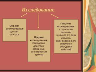 Исследование Объект исследования: русская культура Предмет исследования: Обря