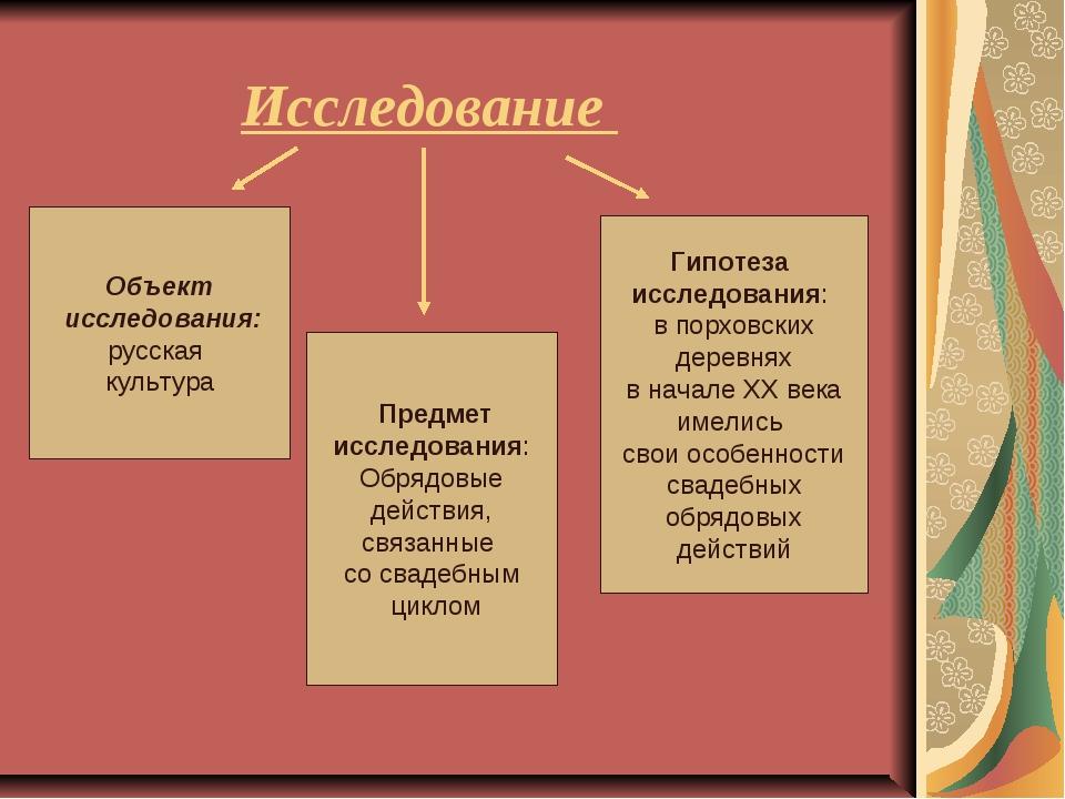 Исследование Объект исследования: русская культура Предмет исследования: Обря...