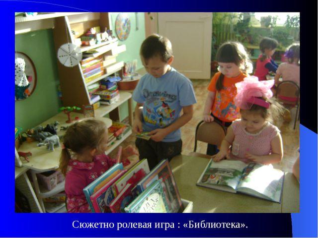 Сюжетно ролевая игра : «Библиотека».