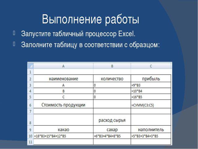 Выполнение работы Запустите табличный процессор Excel. Заполните таблицу в со...