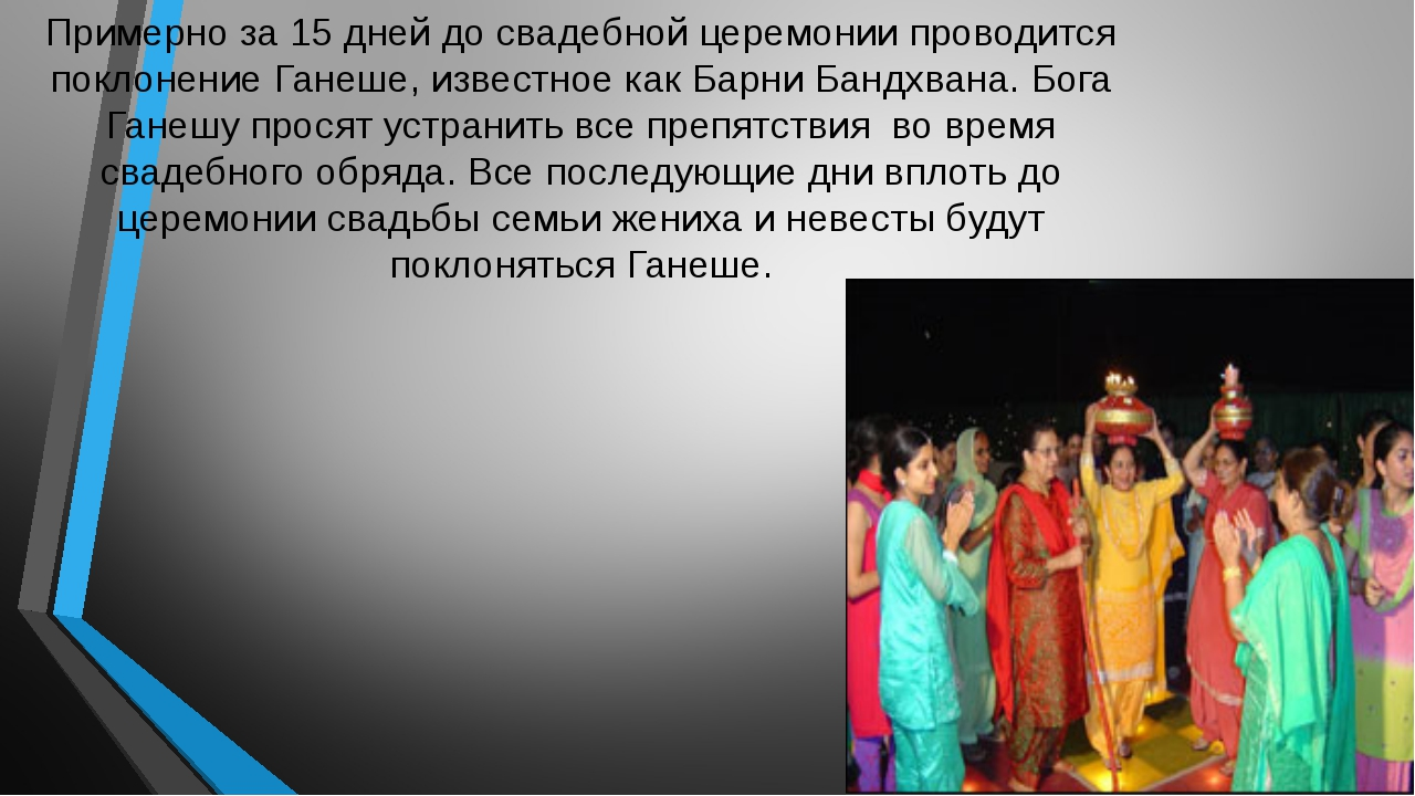 Примерно за 15 дней до свадебной церемонии проводится поклонение Ганеше, изве...