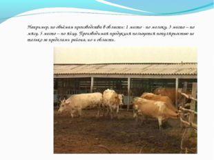 Например, по объёмам производства в области: 1 место - по молоку, 3 место – п