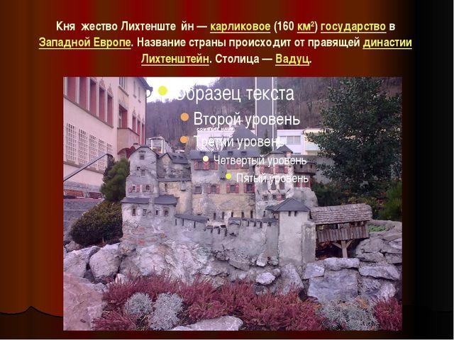 Кня́жество Лихтенште́йн—карликовое(160км²)государствов Западной Европе....