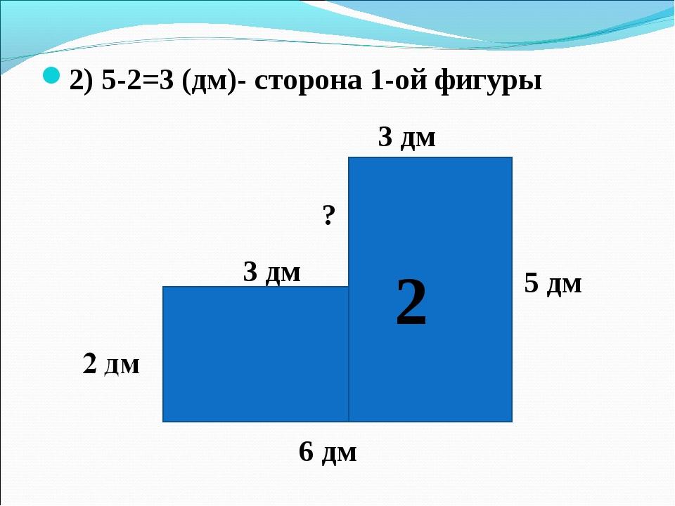 3 дм 2) 5-2=3 (дм)- сторона 1-ой фигуры 6 дм 5 дм 3 дм ? 2