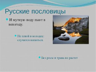 Русские пословицы И мутную воду пьют в невзгоду. Не плюй в колодец: случится