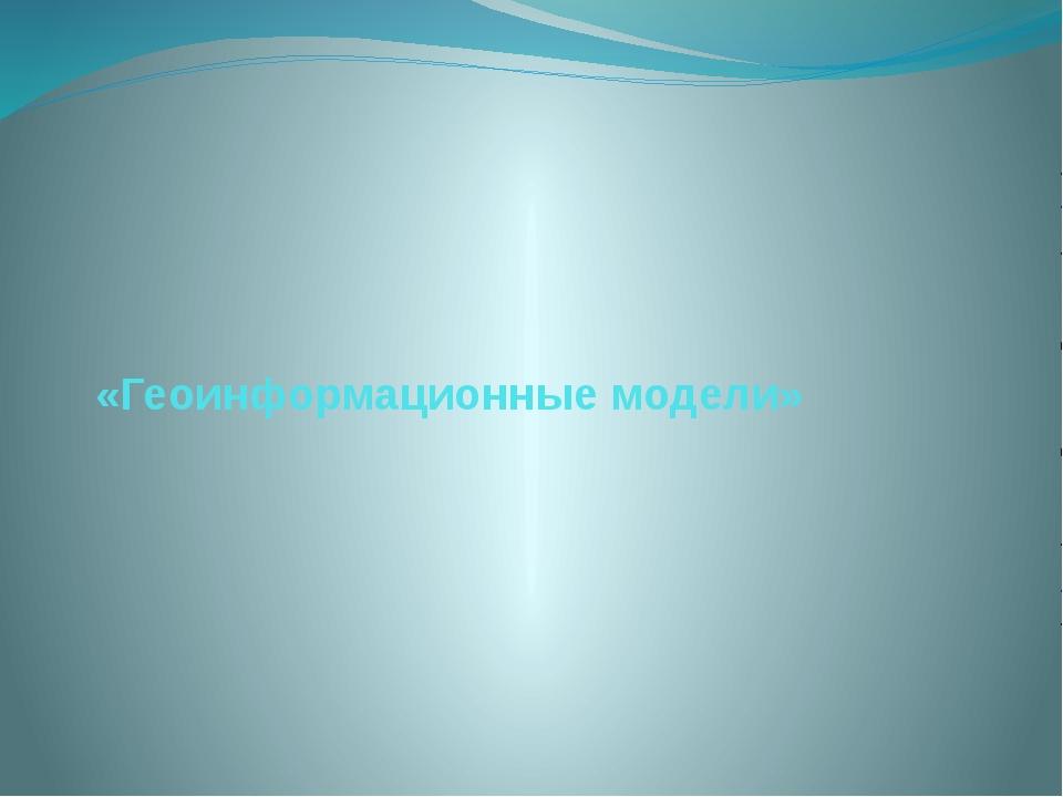 «Геоинформационные модели»
