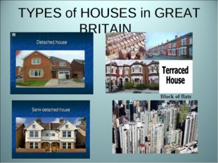 TYPES of HOUSES in GREAT BRITAIN Block of flats