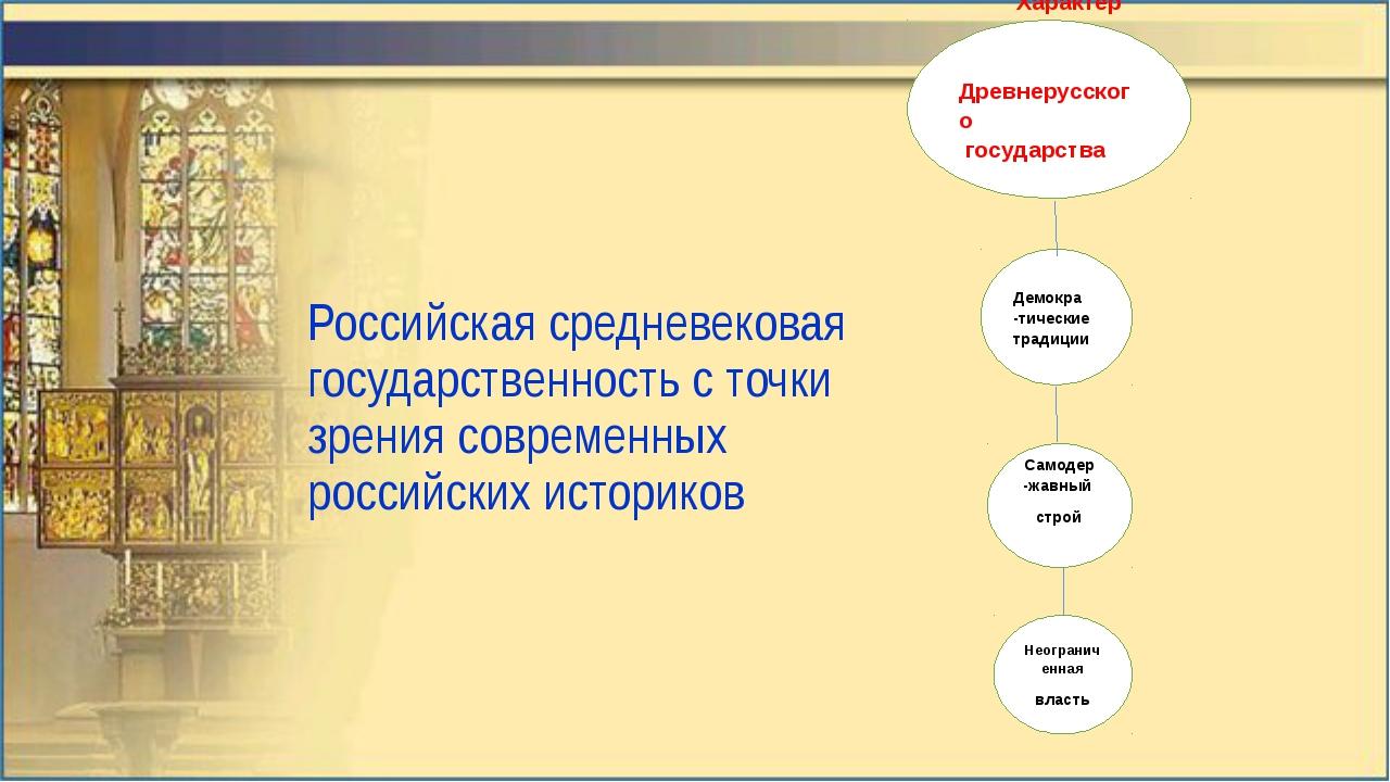 Характер Древнерусского государства Демокра -тические традиции Самодер -жавн...
